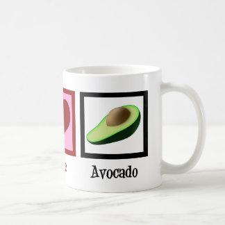 Aguacate del amor de la paz taza de café