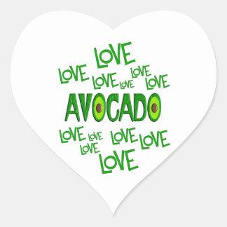 Aguacate del amor del amor pegatina en forma de corazón
