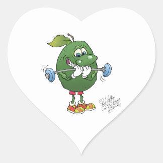 Aguacate del levantamiento de pesas pegatina en forma de corazón