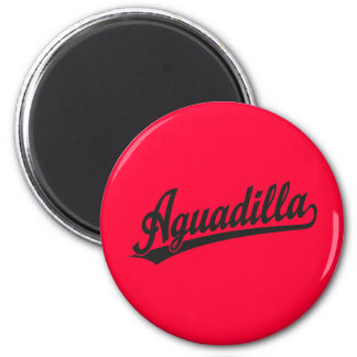 Aguadilla script logo in black 2 inch round magnet