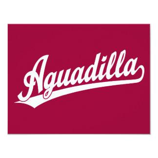 Aguadilla script logo in white card