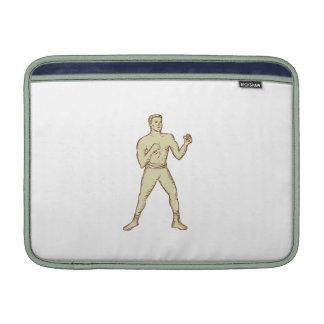 Aguafuerte de la actitud del boxeador del vintage fundas MacBook
