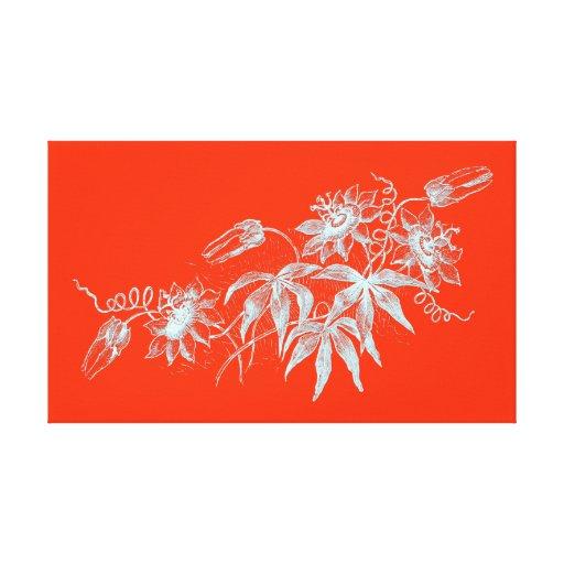 Aguafuerte de la flor de la pasión en blanco en el lienzo envuelto para galerias