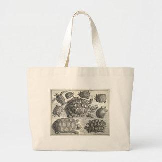 Aguafuerte de la tortuga del vintage bolsa tela grande