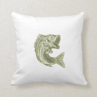 Aguafuerte de los pescados de la perca americana almohadas