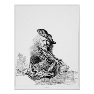 Aguafuerte del autorretrato de Rembrandt Póster