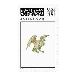 Aguafuerte del halcón del buitre sellos