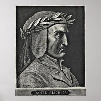 Aguafuerte del retrato de Dante Alighieri Póster