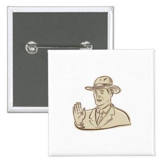 Aguafuerte del vintage del gorra de Fedora del Pin Cuadrado