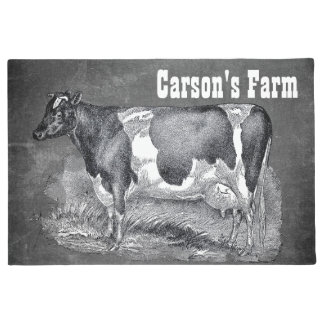 Aguafuerte del vintage, vaca blanco y negro, felpudo