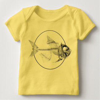 Aguafuerte esquelética de los pescados del vintage poleras