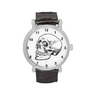 Aguafuerte humana del cráneo reloj de mano