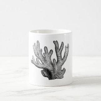 Aguafuerte marina clásica - coral taza básica blanca