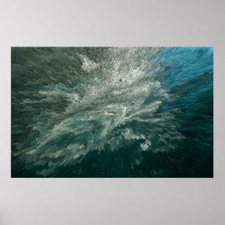 Aguamarina abstracta azul poster