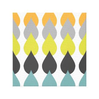Aguamarina amarilla chartreuse anaranjada retra impresión en lienzo