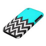 Aguamarina azul con Chevron blanco y negro iPhone 3 Case-Mate Cárcasas