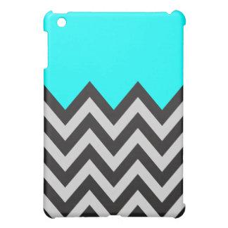 Aguamarina azul con Chevron negro y gris iPad Mini Carcasa