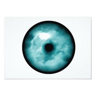 """Aguamarina azul del gráfico de la nube del ojo invitación 5"""" x 7"""""""