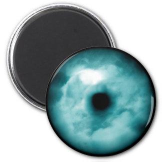Aguamarina azul del gráfico de la nube del ojo ver imán redondo 5 cm