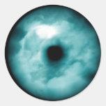 Aguamarina azul del gráfico de la nube del ojo ver pegatinas