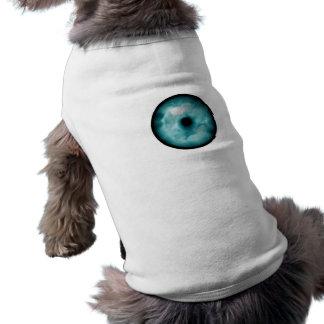 Aguamarina azul del gráfico de la nube del ojo ver playera sin mangas para perro
