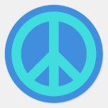 Aguamarina azul etiquetas redondas