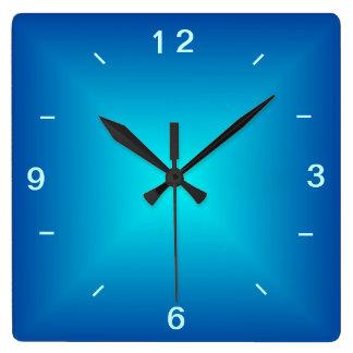 Aguamarina azul iluminada > reloj de pared llano