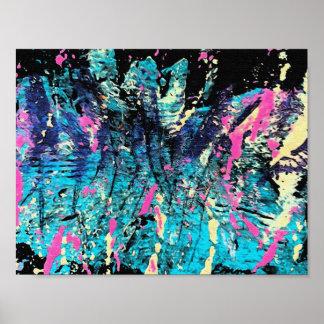 Aguamarina, azul, negro, rosa y colores del hueso  póster