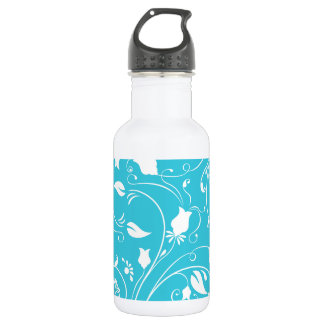 Aguamarina azul, remolinos florales blancos;