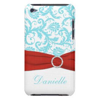 Aguamarina azul y blanco con la falsa cinta roja barely there iPod coberturas