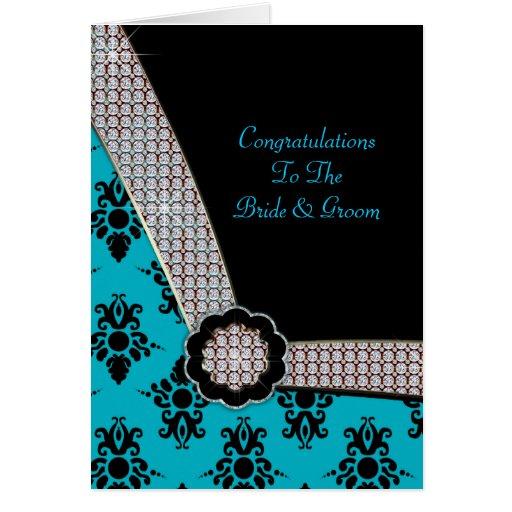 Aguamarina azul y chispa negra de la gema del dama felicitación
