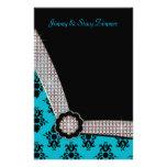 Aguamarina azul y chispa negra de la gema del papeleria de diseño