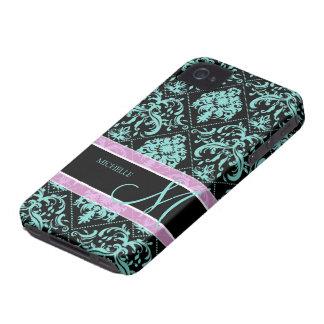 Aguamarina azul y Damasked negro con el monograma iPhone 4 Cobertura