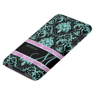 Aguamarina azul y Damasked negro con el monograma iPod Case-Mate Fundas