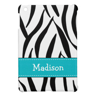 Aguamarina azul y estampado de zebra negro iPad mini cárcasa