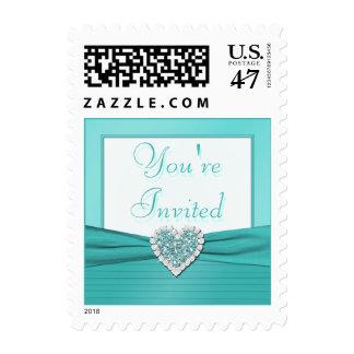 Aguamarina azul y franqueo blanco del corazón de timbre postal