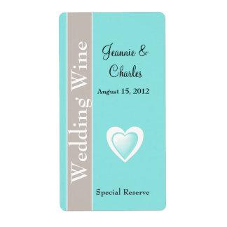 Aguamarina azul y mini etiqueta del vino del boda  etiquetas de envío