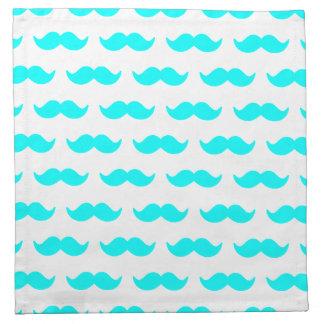 Aguamarina azul y modelo blanco 1 del bigote servilletas de papel