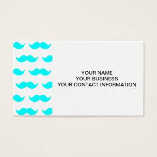 Aguamarina azul y modelo blanco 1 del bigote tarjeta de negocios