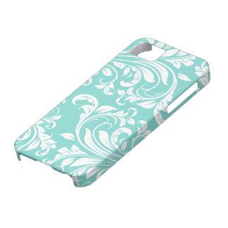 Aguamarina azul y modelo blanco de Damasked iPhone 5 Case-Mate Cárcasa