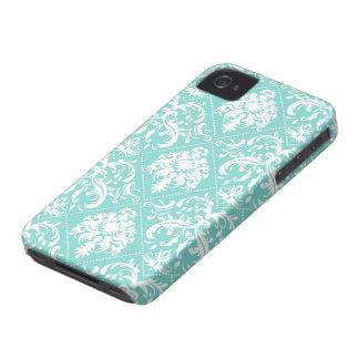 Aguamarina azul y modelo blanco de Damasked iPhone 4 Case-Mate Protector