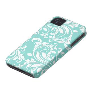 Aguamarina azul y modelo blanco de Damasked iPhone 4 Case-Mate Cárcasa