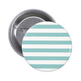 Aguamarina azul y modelo blanco de las rayas pin redondo de 2 pulgadas