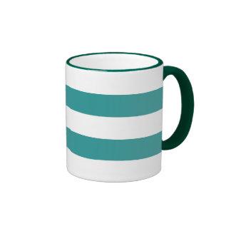 Aguamarina azul y modelo blanco de las rayas tazas de café
