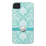 Aguamarina azul y modelo blanco del damasco con el Case-Mate iPhone 4 cárcasas