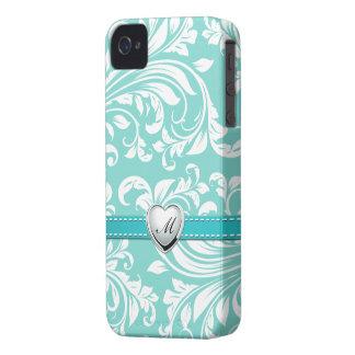 Aguamarina azul y modelo blanco del damasco con el iPhone 4 carcasas