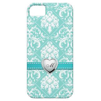 Aguamarina azul y modelo blanco del damasco con el iPhone 5 Case-Mate coberturas