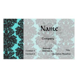 aguamarina azul y modelo gris oscuro del damasco tarjetas de visita
