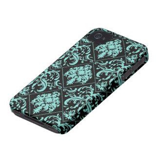 Aguamarina azul y modelo negro de Damasked iPhone 4 Funda