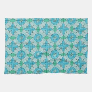 Aguamarina azul y modelo tejado geométrico verde toallas de mano